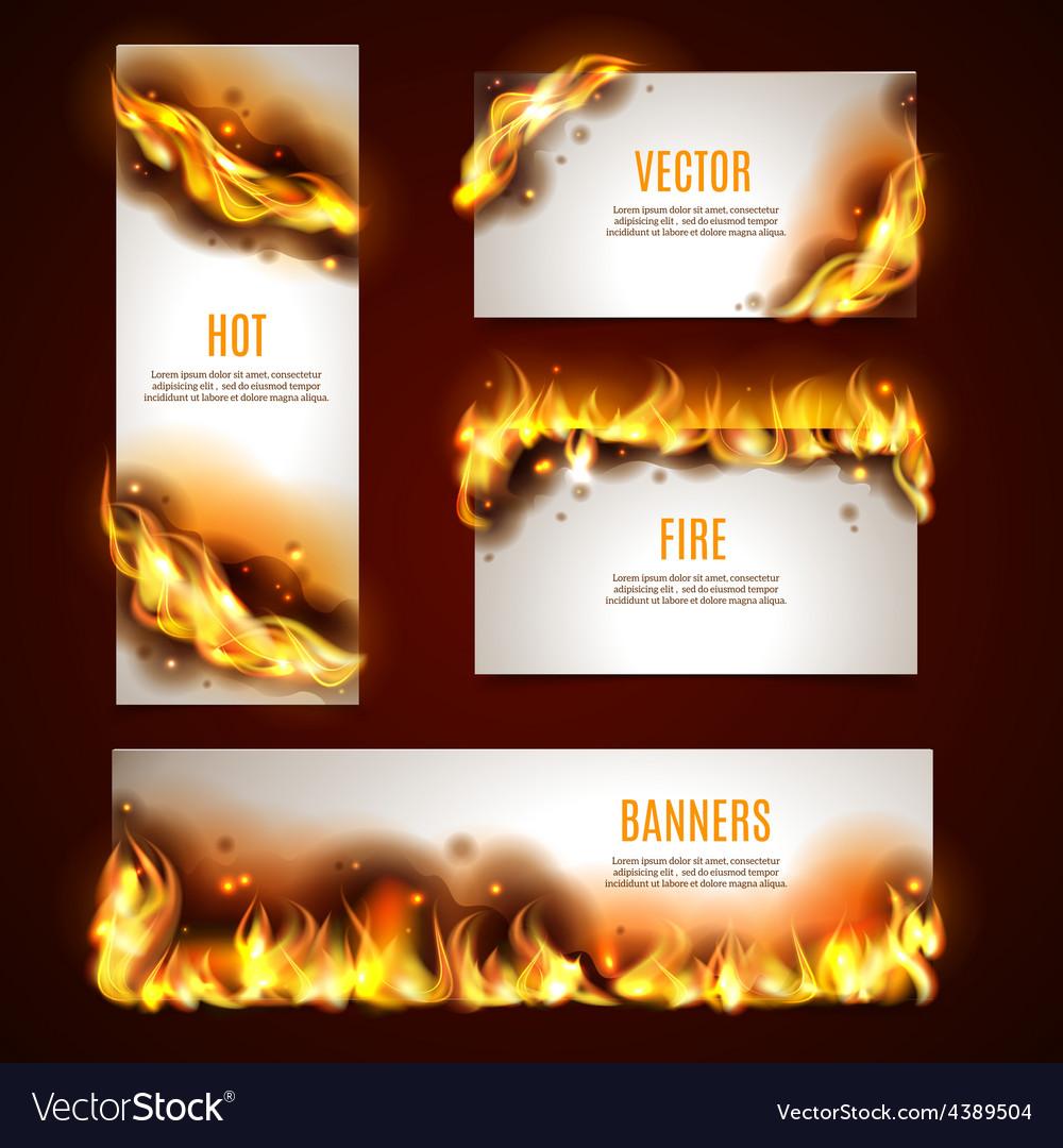 Hot fire banners set vector