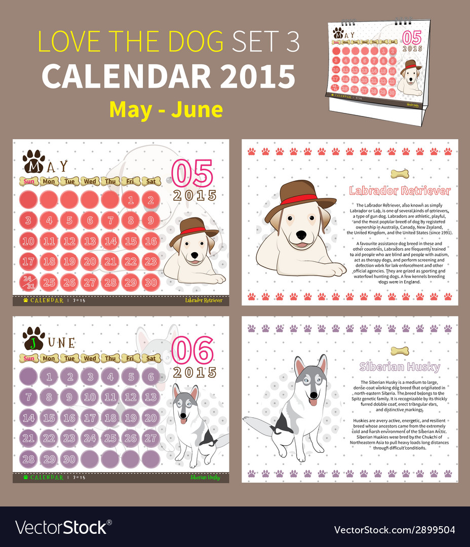 Love the dog calendar 2015 set 3 vector | Price: 1 Credit (USD $1)