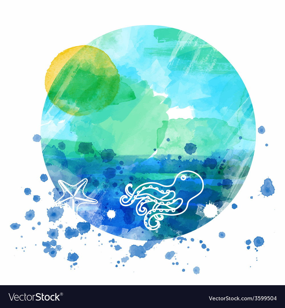 Sea watercolor background vector | Price: 1 Credit (USD $1)