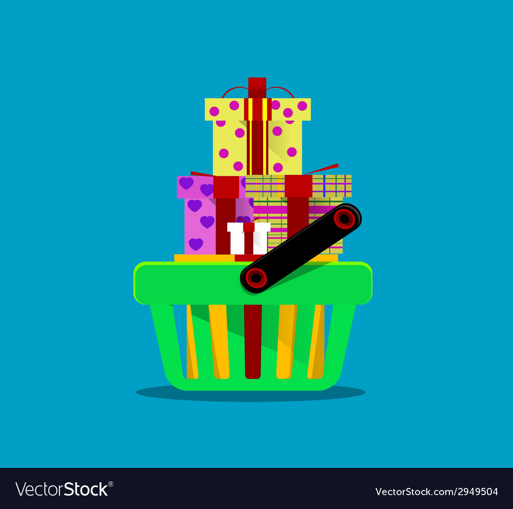 Shopping cart with purchases vector | Price: 1 Credit (USD $1)