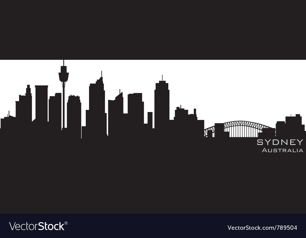 Sydney australia skyline detailed silhouette vector | Price: 1 Credit (USD $1)