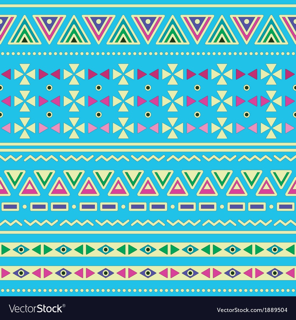 Tribal ethinc ztec seamless pattern on blue vector | Price: 1 Credit (USD $1)