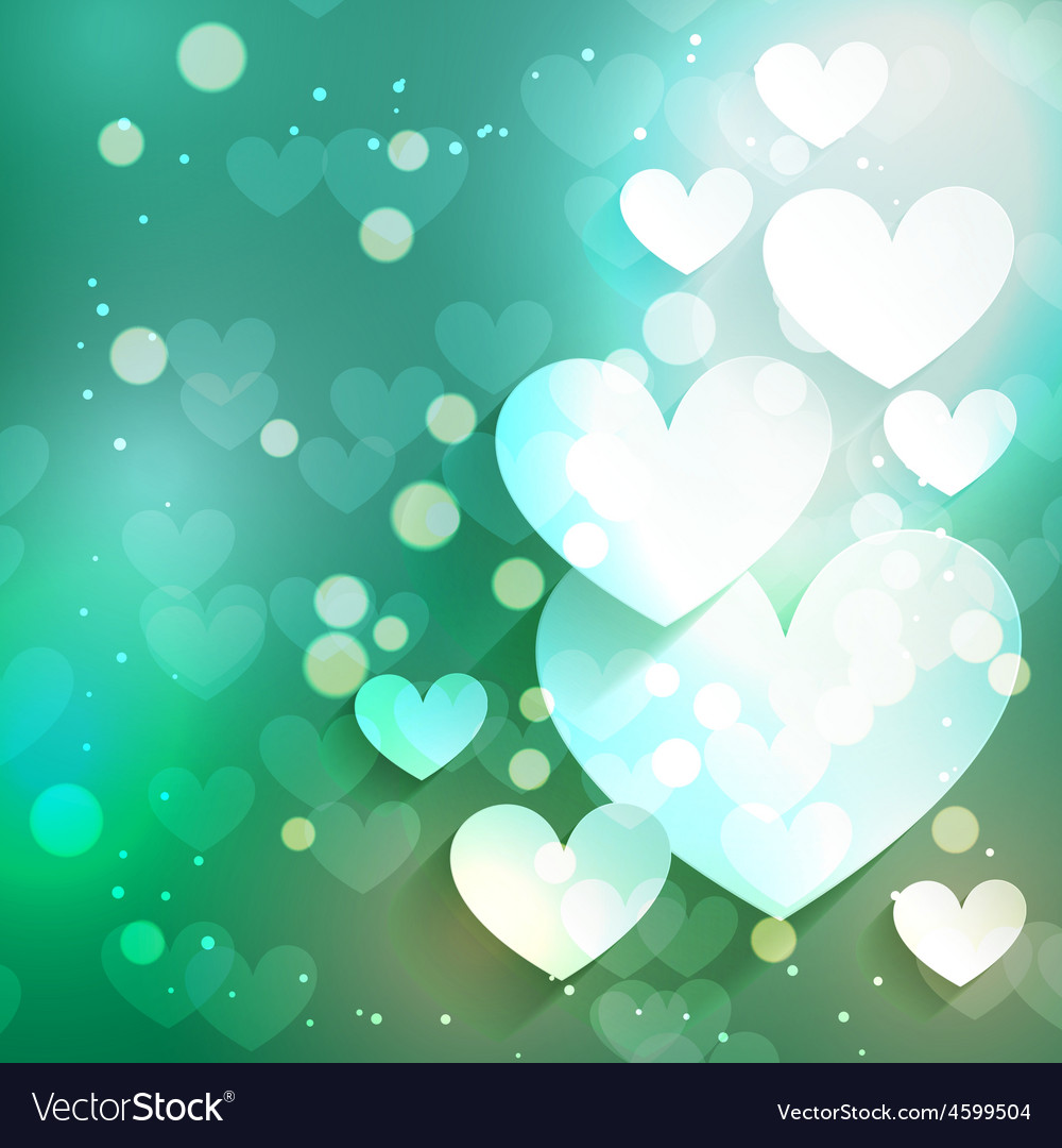 Valentine day heart background with bokeh effect vector | Price: 1 Credit (USD $1)