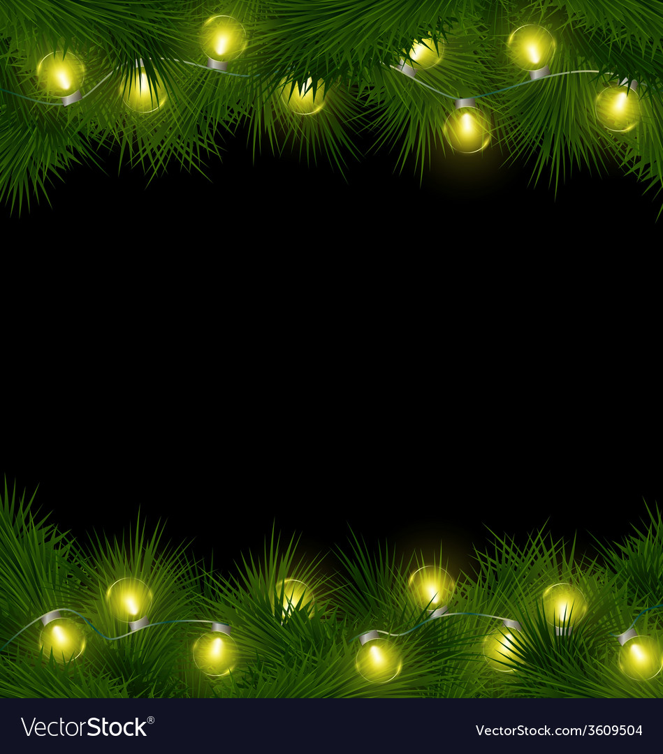 Yellow christmas lights on pine isolated on black vector | Price: 1 Credit (USD $1)
