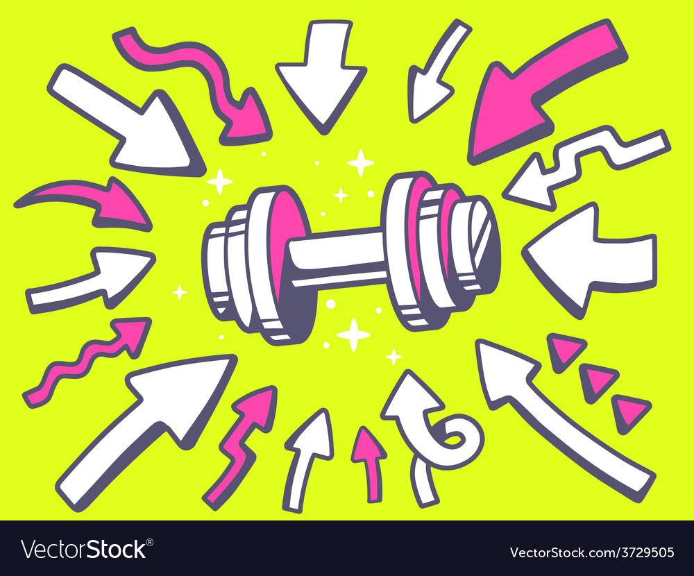 Arrows point to icon of dumbbell on yello vector | Price: 1 Credit (USD $1)