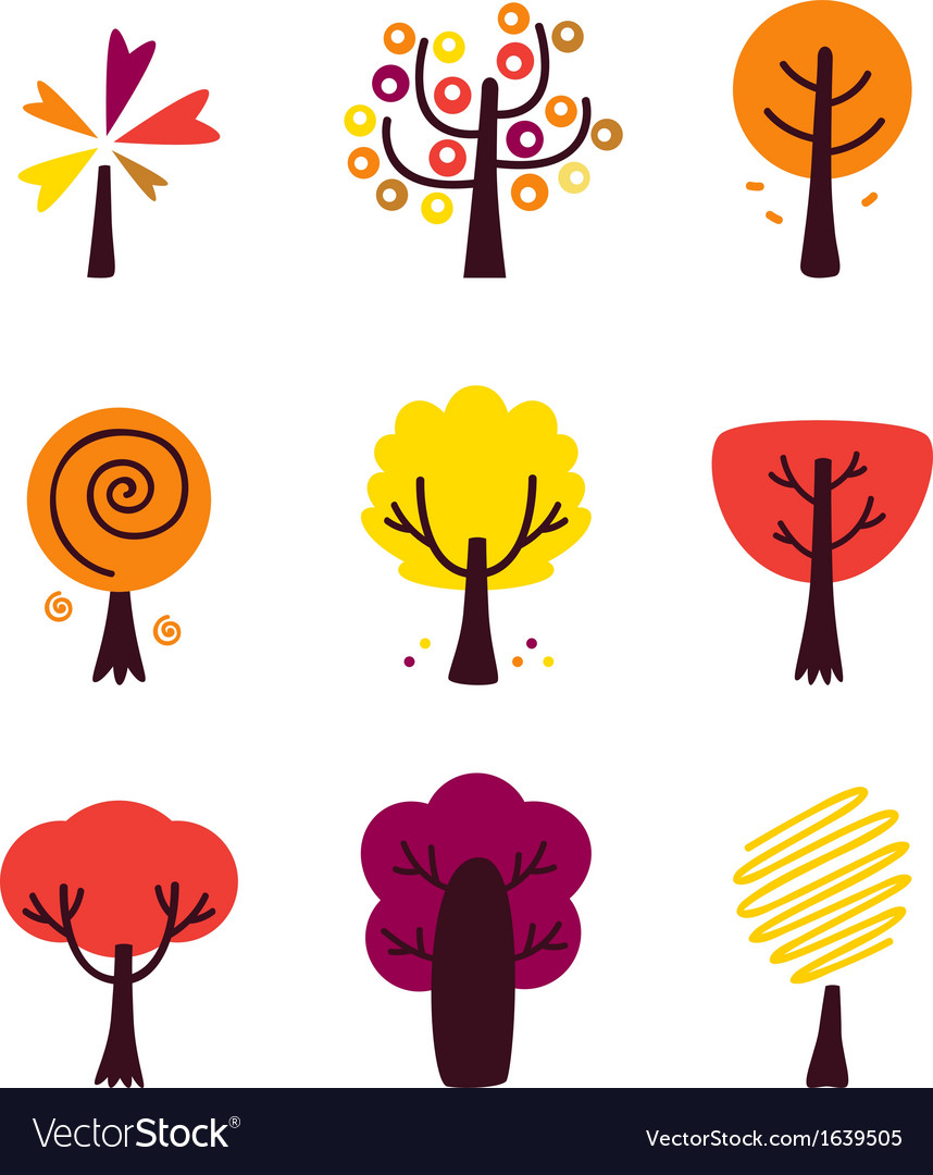 Colorful autumn trees set isolated on white vector | Price: 1 Credit (USD $1)