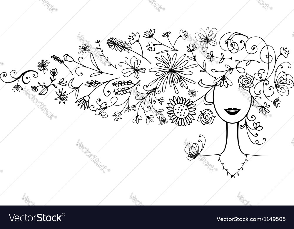 Female silhouette floral hairstyle for your design vector | Price: 1 Credit (USD $1)