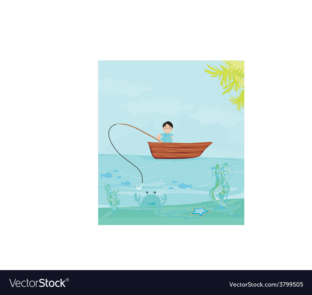 Fisherman catching the fish vector | Price: 1 Credit (USD $1)