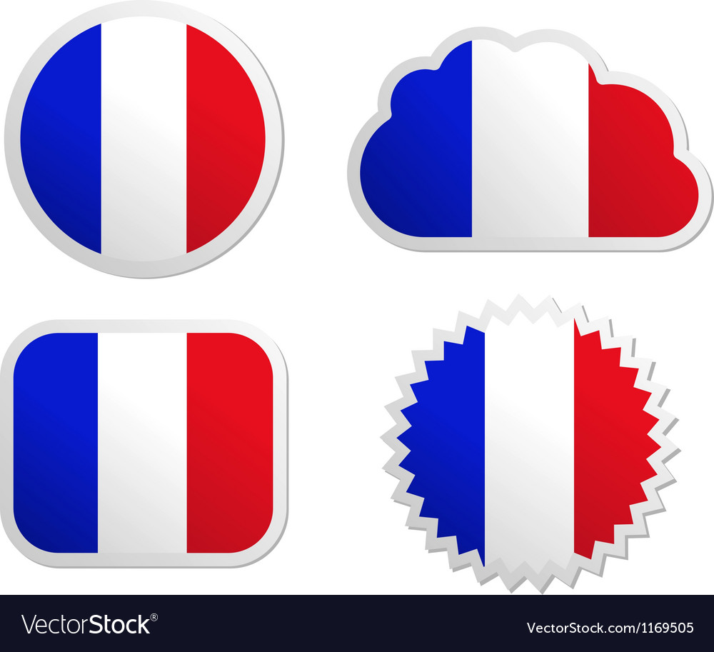 France flag labels vector | Price: 1 Credit (USD $1)