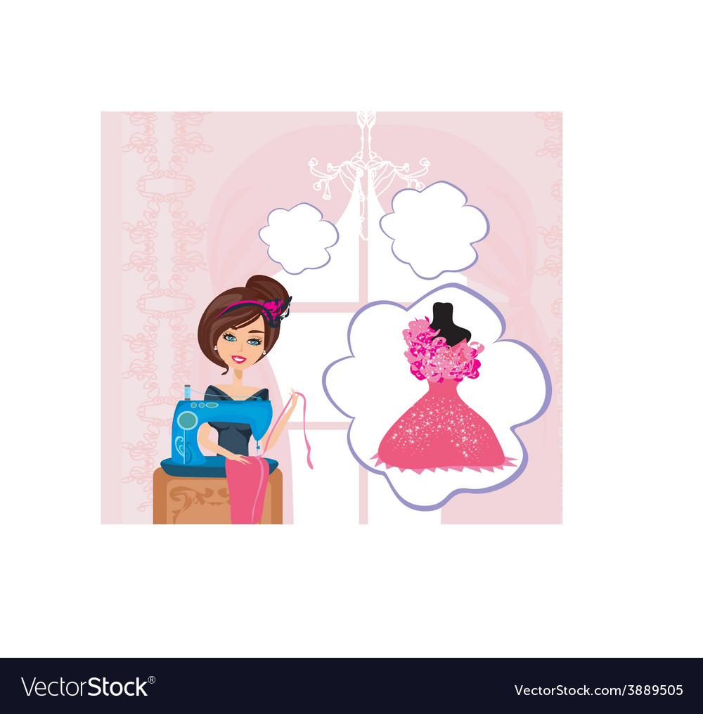 Girl with sewing machine dreams of a beautiful vector | Price: 1 Credit (USD $1)