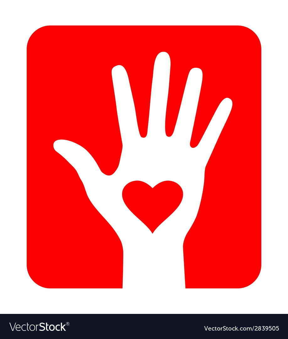 Hand with heart icon on red background vector | Price: 1 Credit (USD $1)