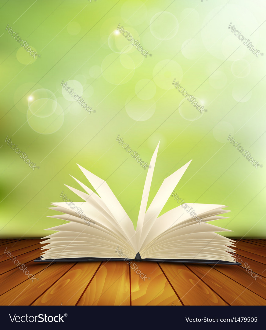 Open book on a wooden floor in front of a green vector | Price: 1 Credit (USD $1)