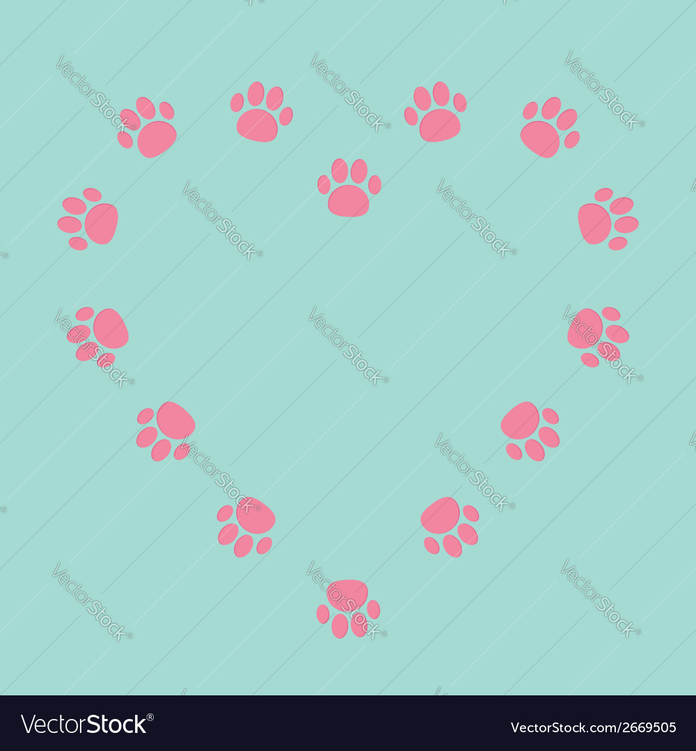 Paw print heart frame empty template vector | Price: 1 Credit (USD $1)