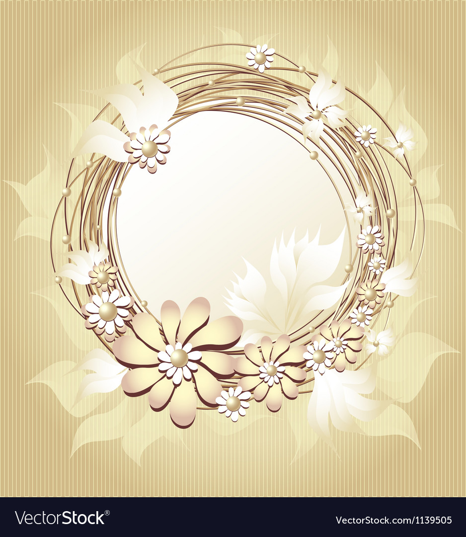 Scrapbooking floral frame in gold colors vector | Price: 1 Credit (USD $1)