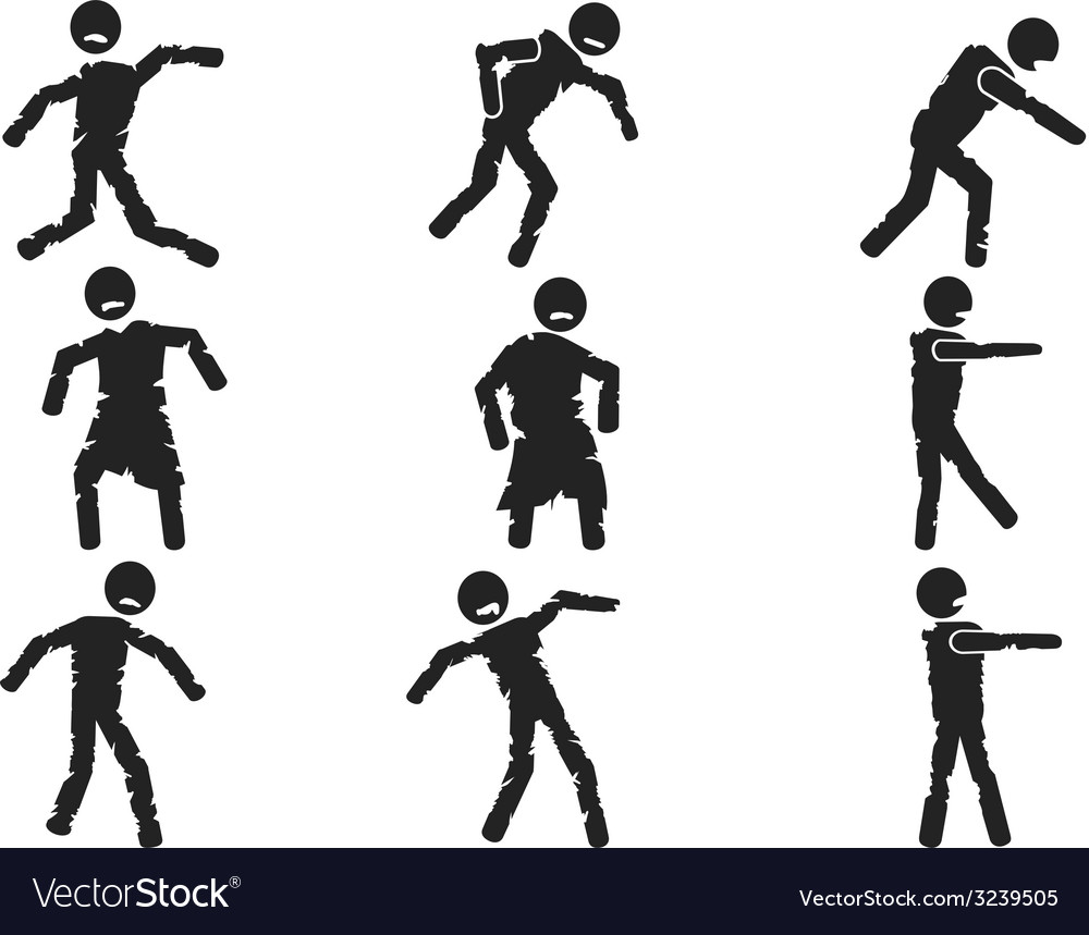 Zombie stick figure set vector | Price: 1 Credit (USD $1)