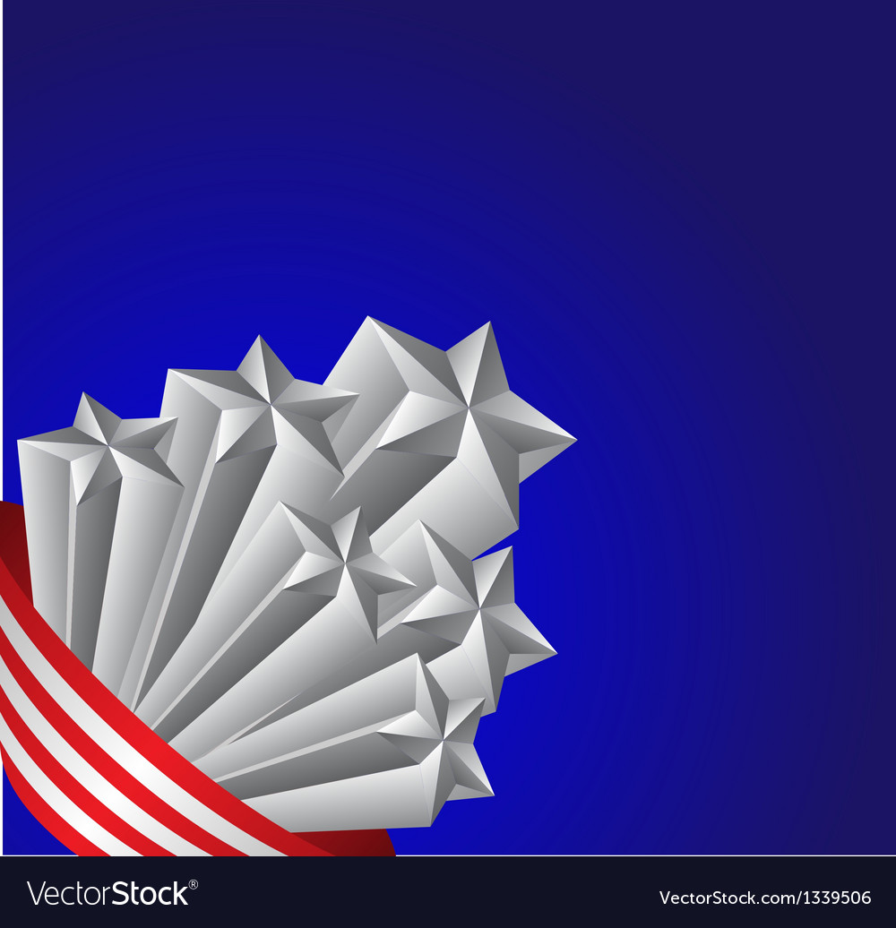 American flag and silver stars patriotic vector | Price: 1 Credit (USD $1)