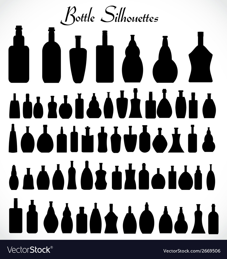 Bottle sihouettes vector | Price: 1 Credit (USD $1)