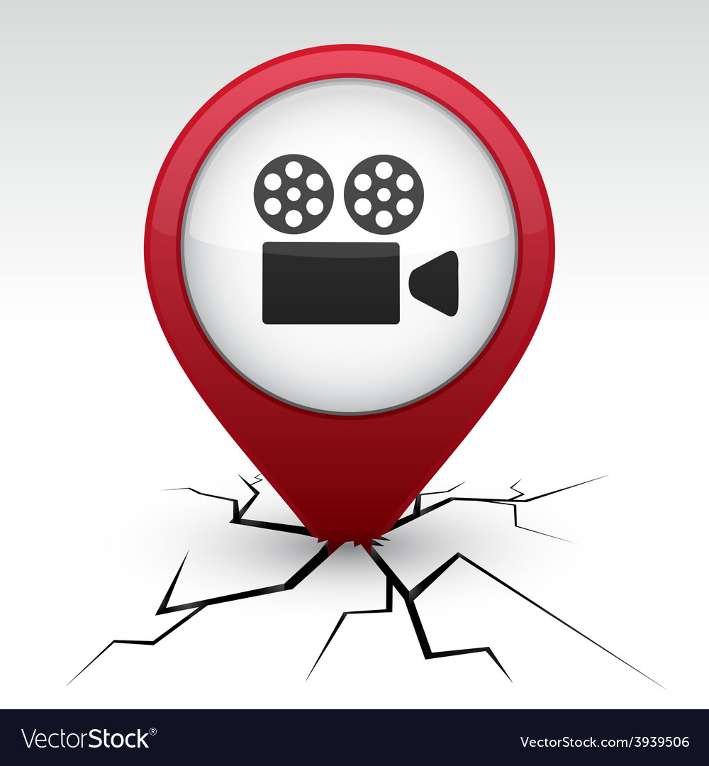 Cinema red icon in crack vector | Price: 1 Credit (USD $1)