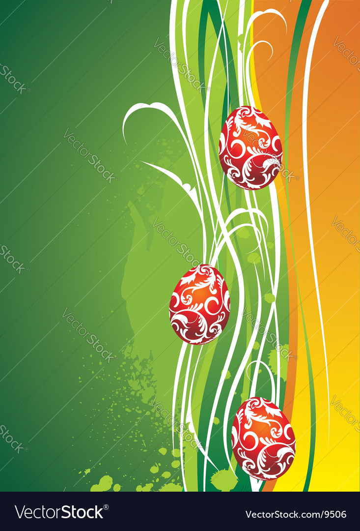 Easter illustration with painted eggs vector | Price: 1 Credit (USD $1)