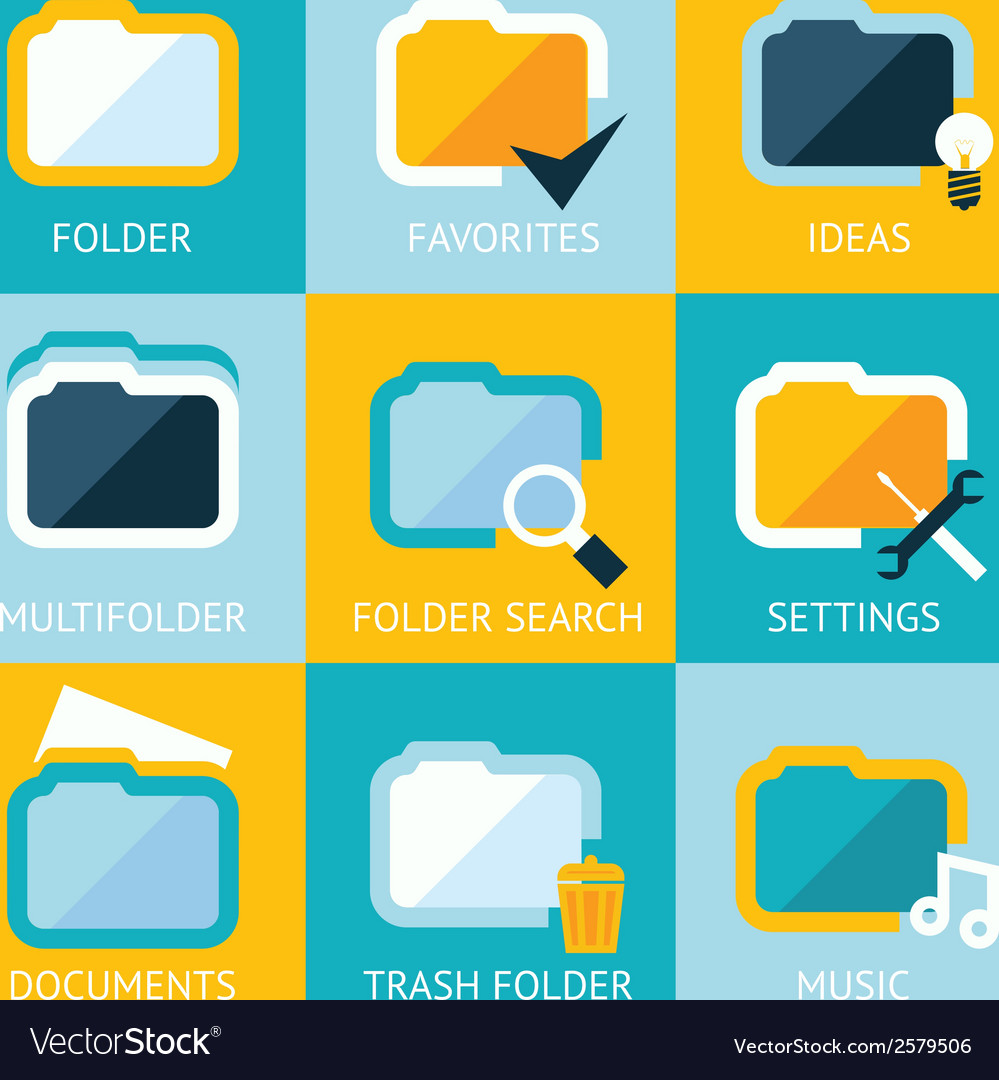 Folder icons set favorites settings music ideas vector | Price: 1 Credit (USD $1)