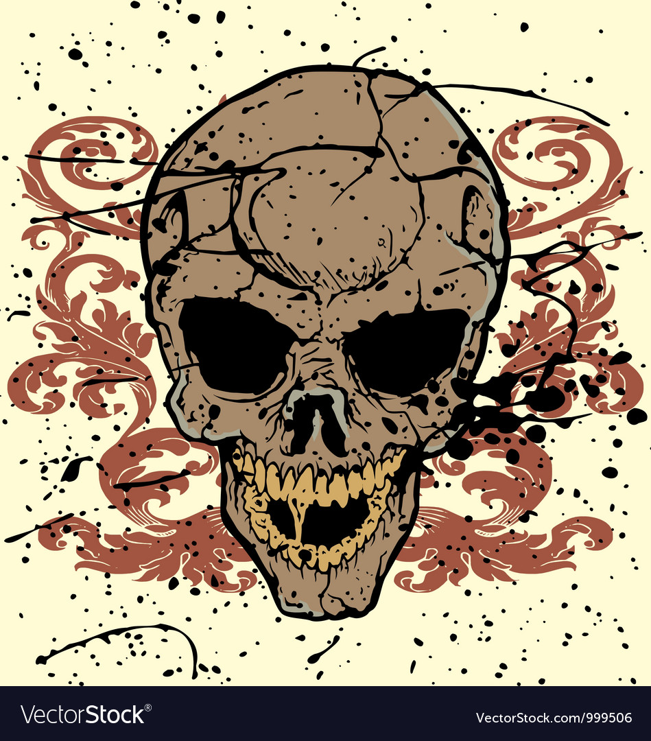 Grunge floral skull vector | Price: 1 Credit (USD $1)