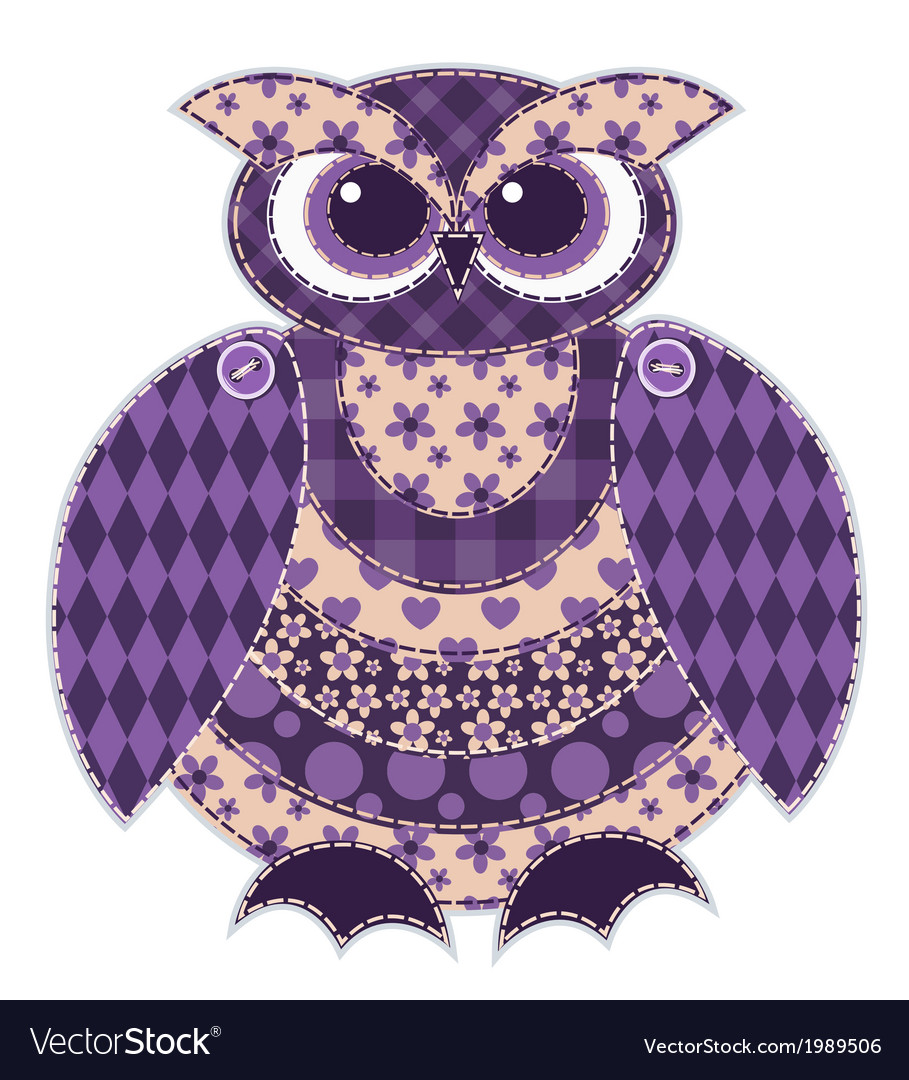 Isolated red patchwork owl vector | Price: 1 Credit (USD $1)