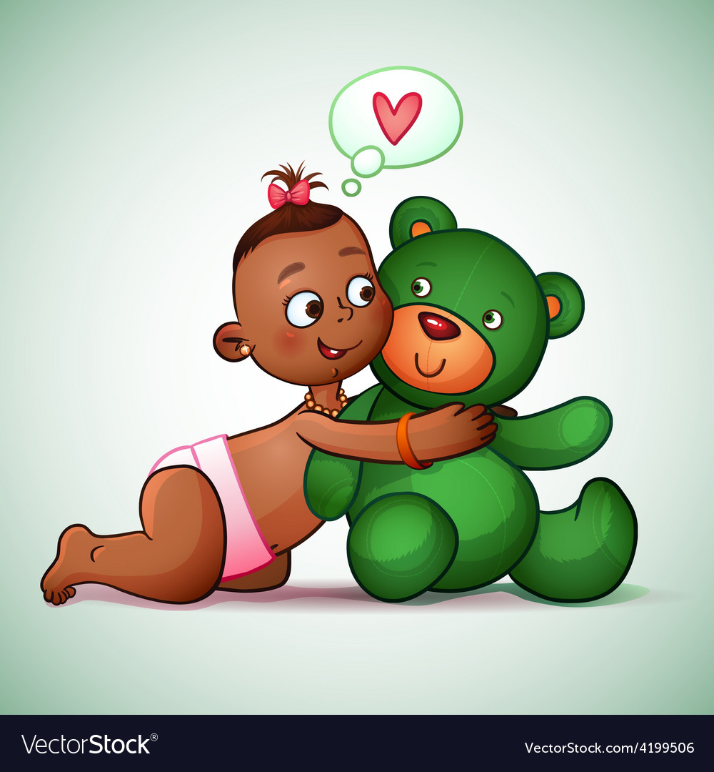 Little indian girl hugging teddy bear green she vector | Price: 3 Credit (USD $3)