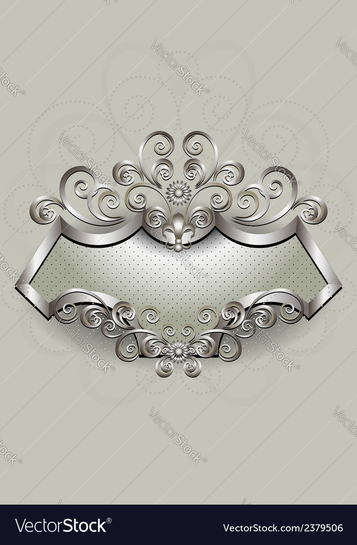 Silver pattern with heraldry and spirals on a silv vector | Price: 1 Credit (USD $1)