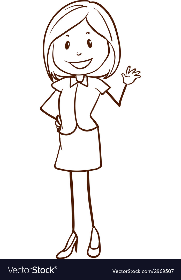 A simple sketch of an office girl vector | Price: 1 Credit (USD $1)