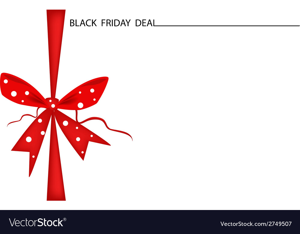 Black friday gift card with red ribbon vector | Price: 1 Credit (USD $1)