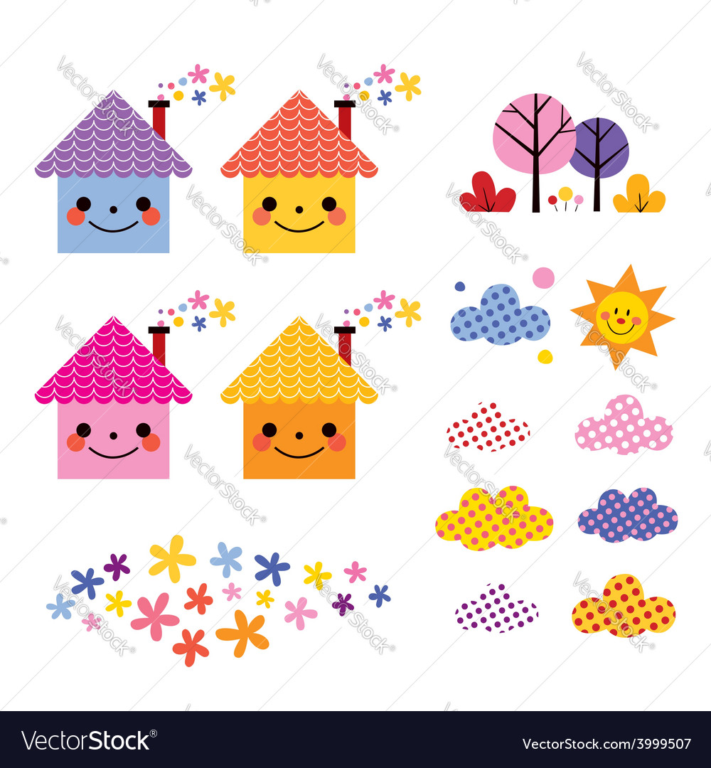 Cute houses kids design elements set vector | Price: 1 Credit (USD $1)
