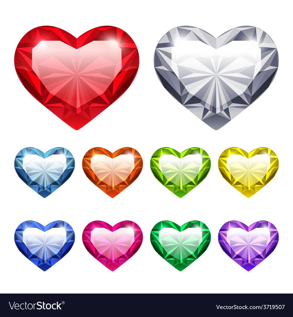 Gem hearts set vector | Price: 1 Credit (USD $1)