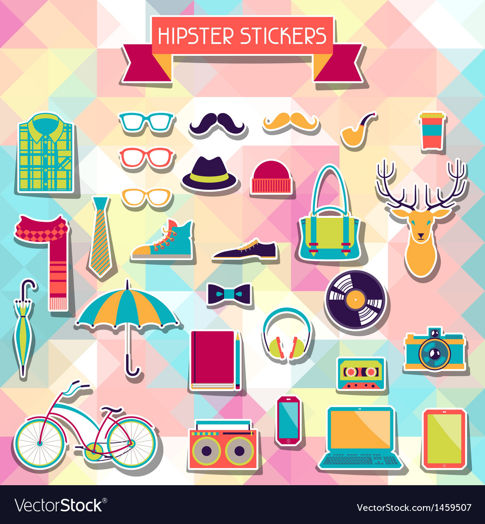 Hipster style elements and icons set for retro vector | Price: 3 Credit (USD $3)
