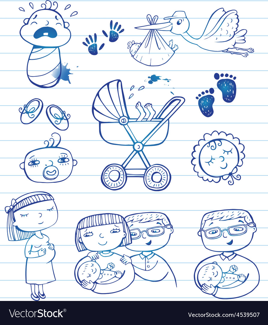 Infant doodle icon set vector | Price: 1 Credit (USD $1)