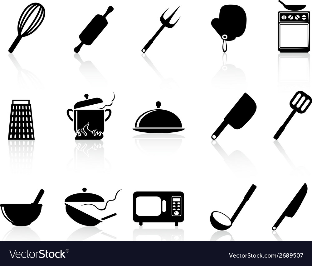 Kitchen utensil icons set vector | Price: 1 Credit (USD $1)