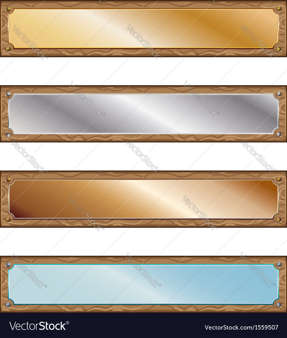 Metal plates with wood frames vector   Price: 1 Credit (USD $1)