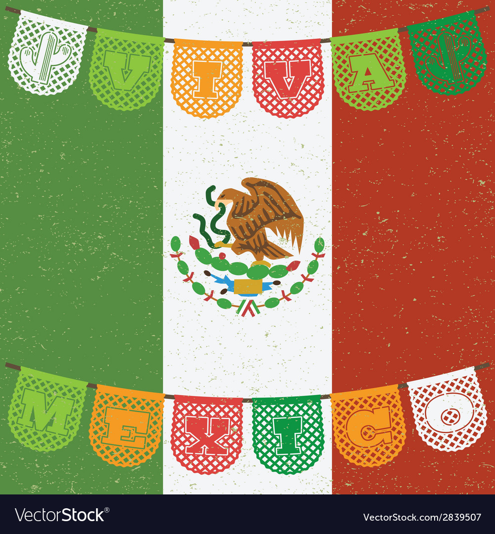 Mexican flag decoration vector | Price: 1 Credit (USD $1)