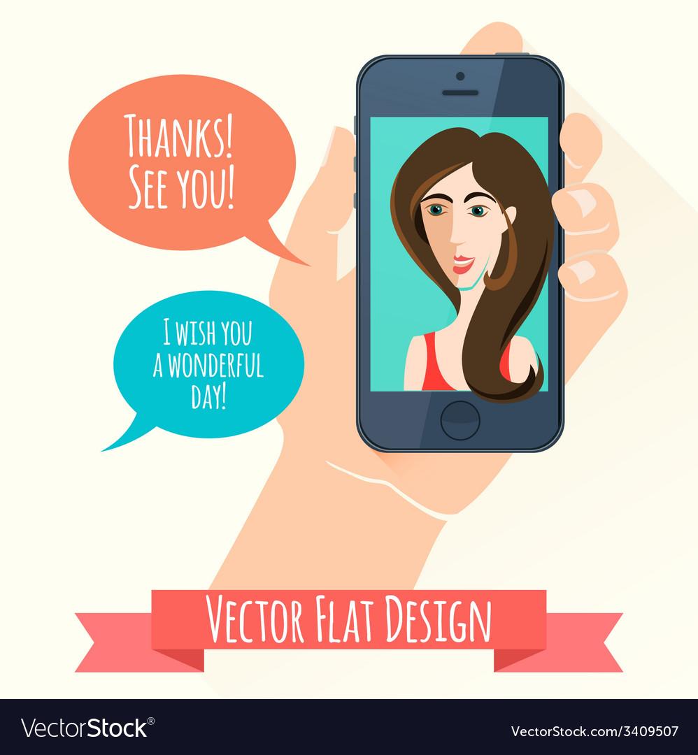 Phone conversation flat style vector   Price: 1 Credit (USD $1)