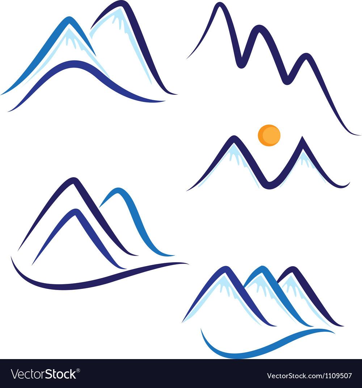 Set of stylized mountains logo vector