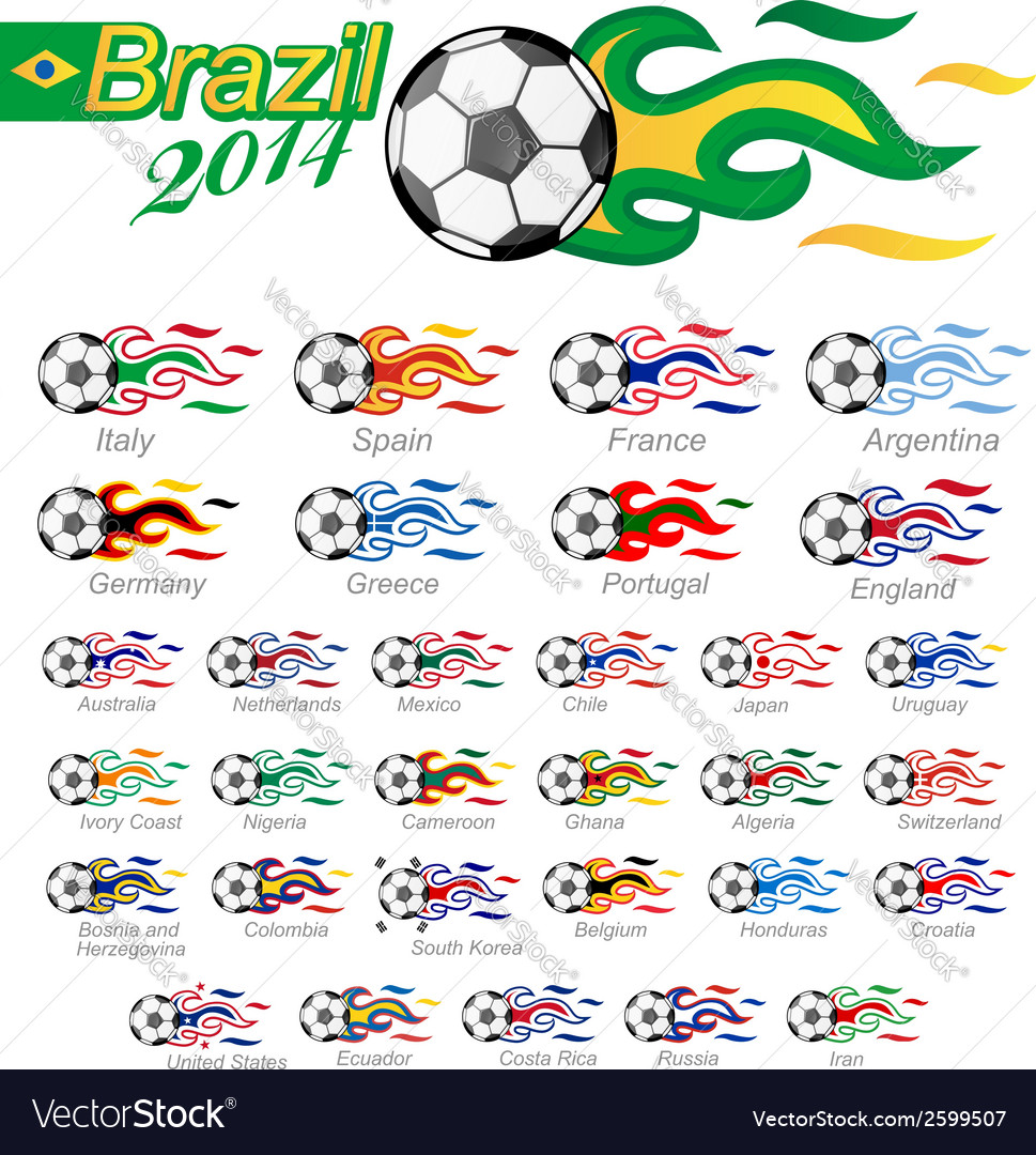Soccer ball set with flag flame vector | Price: 1 Credit (USD $1)