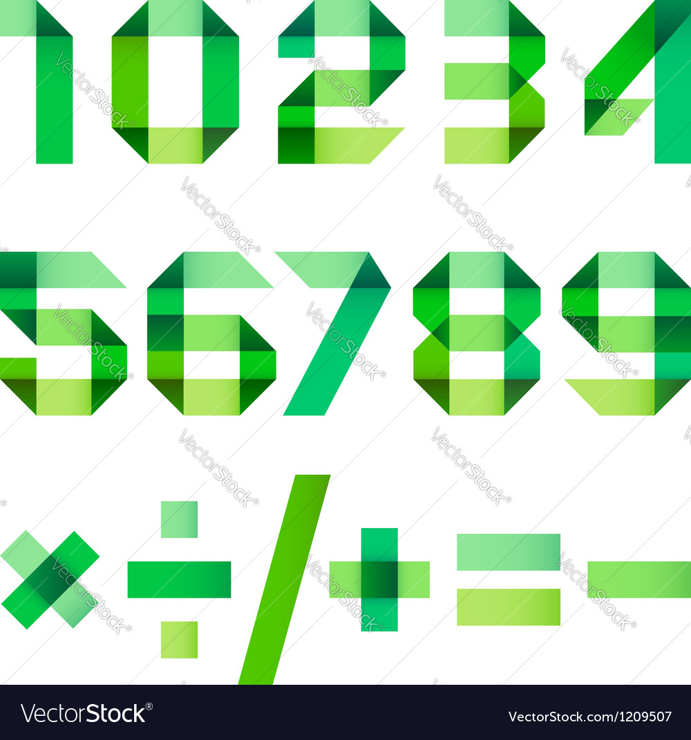Spectral letters folded of paper green ribbon - vector | Price: 1 Credit (USD $1)
