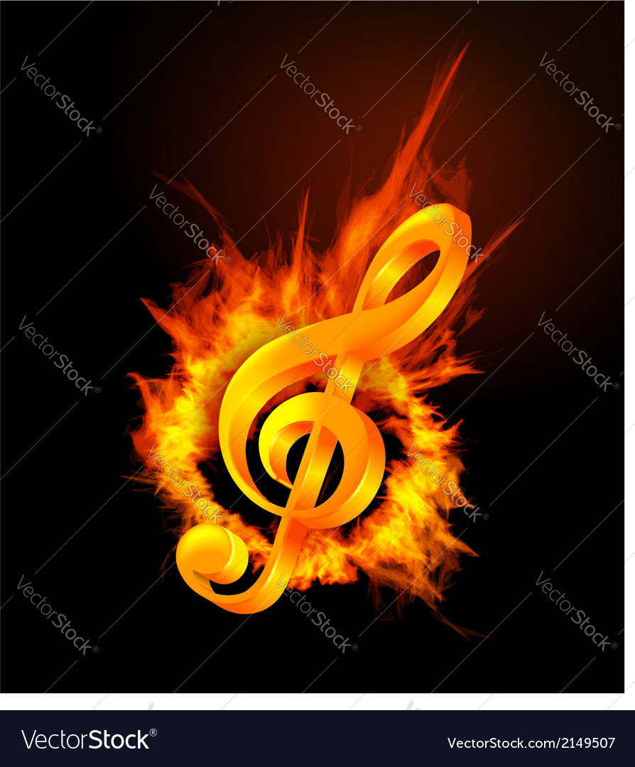 Treble clef in the fire vector | Price: 3 Credit (USD $3)