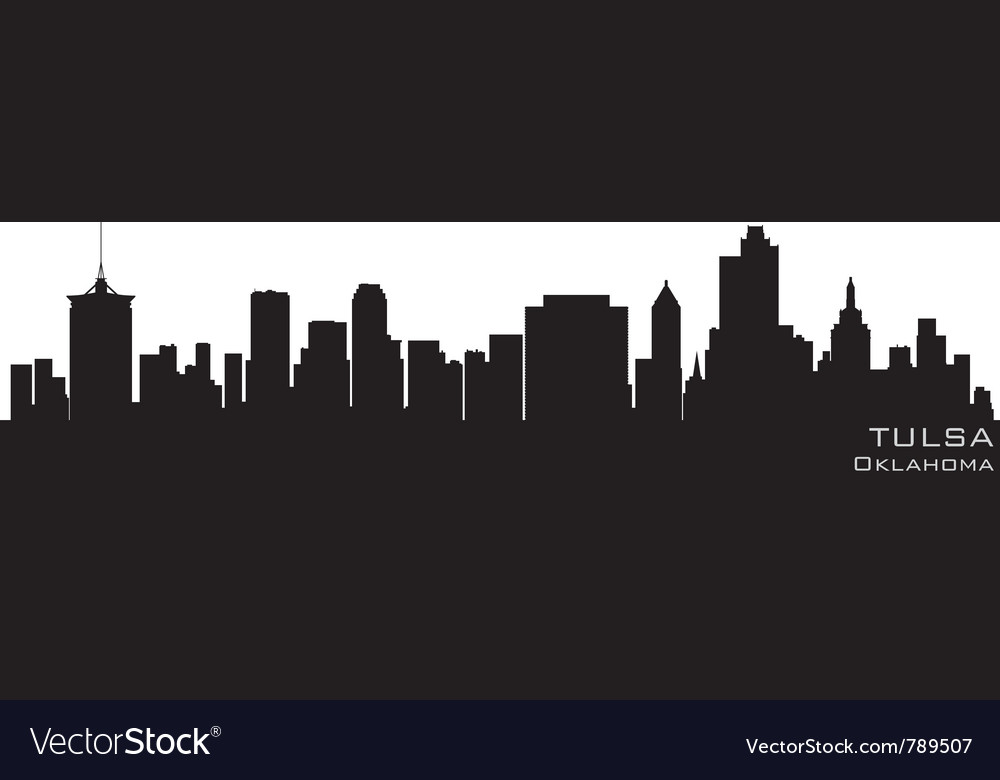 Tulsa oklahoma skyline detailed silhouette vector | Price: 1 Credit (USD $1)