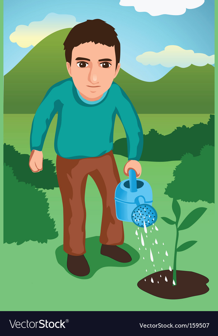 Watering the garden vector | Price: 1 Credit (USD $1)