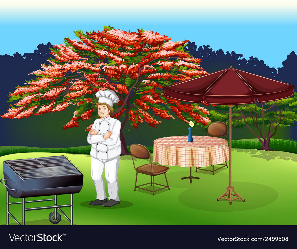 A person grilling at the park vector | Price: 1 Credit (USD $1)