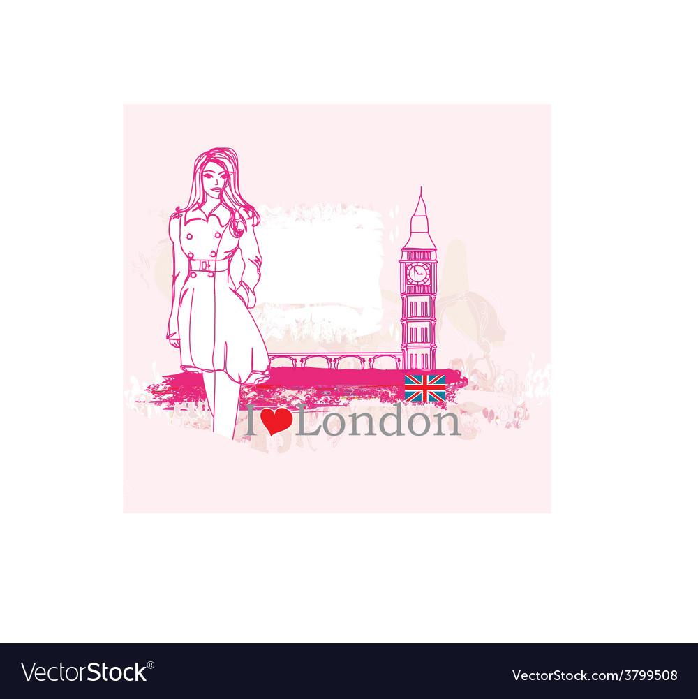 Beautiful woman in london vector | Price: 1 Credit (USD $1)