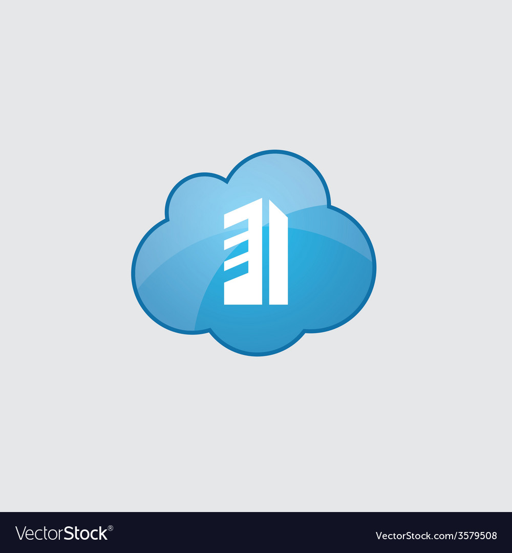 Blue cloud building icon vector | Price: 1 Credit (USD $1)