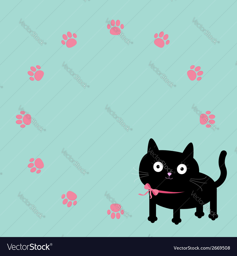 Cat and paw print round frame template flat design vector | Price: 1 Credit (USD $1)