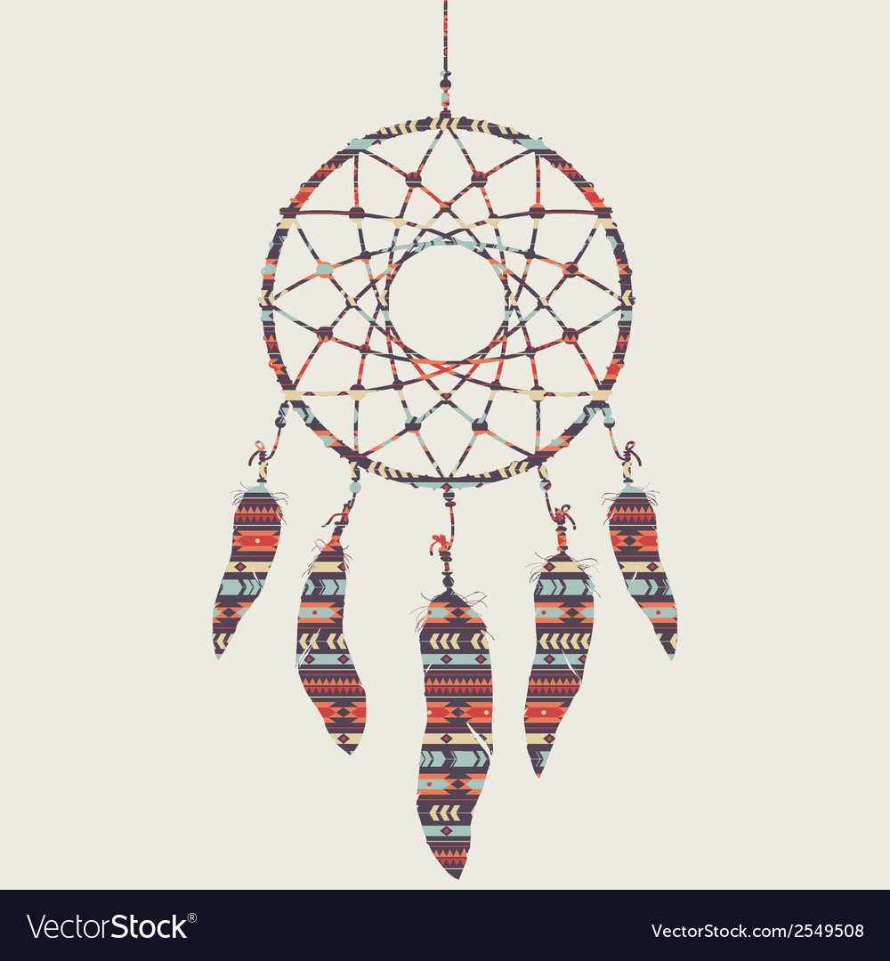 Colorful of dream catcher with ethnic patter vector | Price: 1 Credit (USD $1)