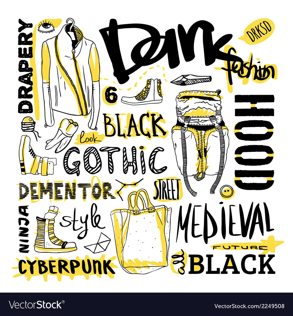 Doodle set dark fashion cyberpunk style vector | Price: 1 Credit (USD $1)